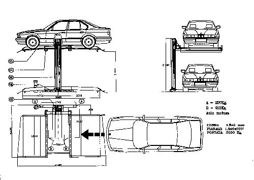 Sollevatori Auto per Box schema1